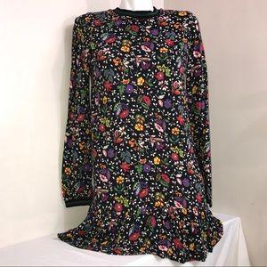 Zara Retro Floral Multicoloured Ruffle Flowy Dress